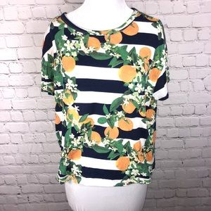 Zara T-Shirt Cropped Oranges and Stripes Medium